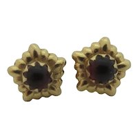 Cabochon Garnet Paste 14k Gold Stud Earrings Vintage Art Deco c1920.