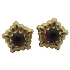 Cabochon Garnet Paste 14k Gold Stud Earrings Vintage Art Deco c1920.