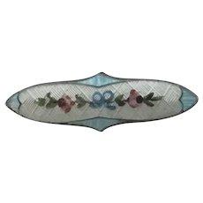 Flower Enamel Sterling Silver Brooch Pin Antique Edwardian by John Atkins & Sons.