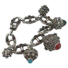 Cabochon Stones Turquoise, Carnelian, Green Onyx, Garnet Paste Arabic 800 Silver Charm Bracelet Vintage c1920.