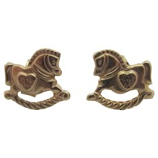 Heart on Rocking Horse 9k Gold Stud Earrings Vintage c1980.
