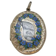 Forget me not Birthday gift enamel 9k gold back & front double pendant locket antique Victorian.