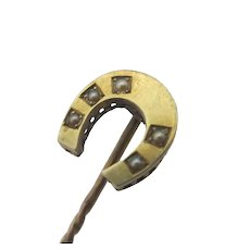 Lucky Horseshoe Seed Pearl 15k Gold Stick Pin Brooch Antique Victorian c1880.