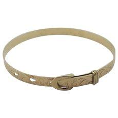 Adjustable Buckle Bangle Bracelet 9k Gold Vintage English 1991.