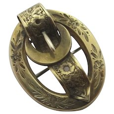 Forget Me Not 15k Gold Buckle Brooch Pin Antique Victorian c1860.