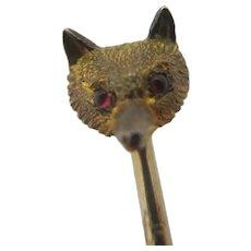 Fox Head Mask Ruby Eyes 9k Gold Stick Pin Brooch Antique Victorian c1890.