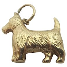 Terrier Dog 9k Gold Pendant Charm Vintage English 1965.