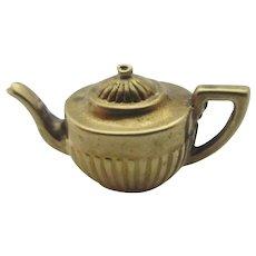 Queen Anne Fluted Tea Pot 9k Gold Pendant Charm Vintage English 1964.