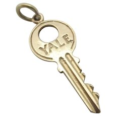 Yale Door Key 9k Gold Pendant Charm Vintage English 1963.