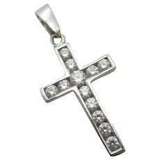 Diamond Paste 9k White Gold Cross Pendant Vintage English c1980.
