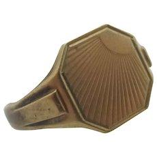 Sunburst 9k Gold Ring Vintage English 1961.