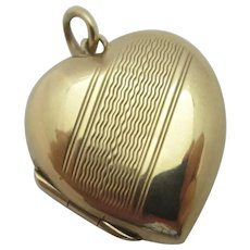 Heart 9k Gold Back & Front Double Pendant Locket Vintage Art Deco c1920.