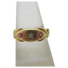 Diamond Ruby Spinel 18k Gold Ring Antique Victorian c1900.