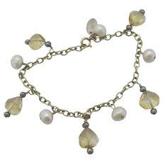 Heart Citrine Pearl 9k Gold Charm Bracelet Vintage English c1980.