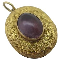 Cabochon Amethyst Hand Chased 18k Gold Pendant Locket Antique Victorian c1860.