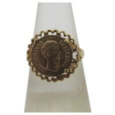 Maximiliano Coin in 9k Gold Ring Vintage English 1979.