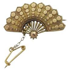 Ladies Fan 9k Gold Brooch Pin Antique Victorian c1880.
