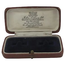 Leatherette Cufflink Jewellery Box Vintage Art Deco c1920.