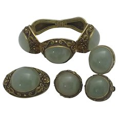 Chinese Jade & Sterling Silver Gilt Set Ring Brooch Bracelet Earrings Vintage c1930.