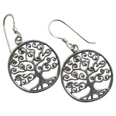 Sterling silver 'Tree of life' dangling pendant earrings Vintage c1980.
