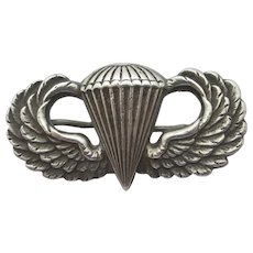WWII US Army Airborne Paratrooper Jump Wings Sterling Silver Badge Brooch Pin Vintage.