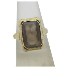 Smokey Quartz 9k Gold Ring Vintage Art Deco c1920.