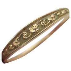 Flower Bangle Bracelet 9k Gold Vintage Art Deco c1920.