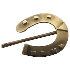 Lucky Horseshoe 9k Gold Stick Pin Brooch Antique English Victorian 1888.