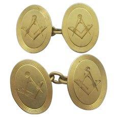 Masonic 18k Gold Cufflinks Vintage Art Deco c1920.