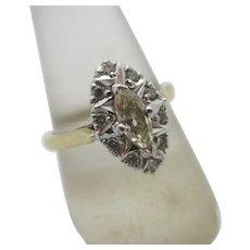 Diamond in 9k Gold Ring Vintage English Hallmark.