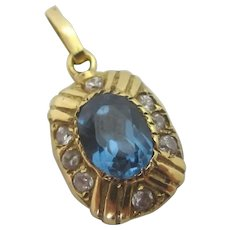 Blue Tourmaline Diamond Paste 18k Gold Pendant Vintage c1980.