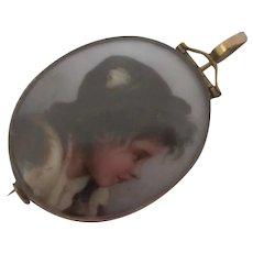 Porcelain Portrait of a Boy 9k Gold Brooch Pin Antique Victorian c1860.