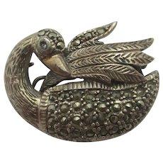 Swan Bird Sterling Silver Marcasite Brooch Pin Vintage Art Deco c1920.