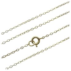 "9k Gold Chain Necklace 45.4cm / 17.8"" Cable Link Vintage c1980."