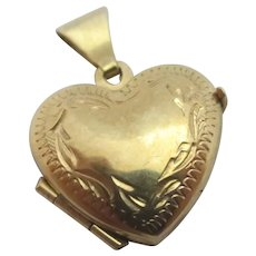 Heart Double Pendant Locket 9k Gold Vintage English c1980.