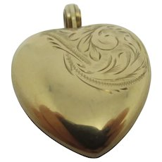 Heart Double Pendant Locket 9k Gold Vintage English Chester 1955.