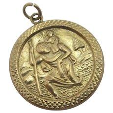 St Christopher Pendant Charm 9k Gold Vintage c1970.