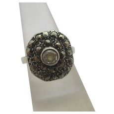 Diamond 18k White Gold & Platinum Marcasite Ring Vintage Art Deco c1920.