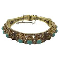 Turquoise in Filigree Sterling Silver Gilt Bracelet Vintage Art Deco c1920.