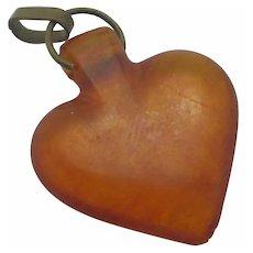 Amber Heart Pendant Antique Victorian c1890.