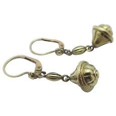15k Gold Dangling Ear Pendant Earrings Antique Victorian c1860.