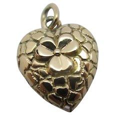 Lucky Shamrock Heart 15k Gold Pendant Charm Antique Victorian c1890.