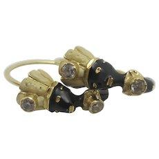 Blackamoor Enamel 14k Gold Sleeper Hoop Earrings Vintage c1950.