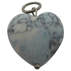Turquoise Pottery Heart Sterling Silver Pendant Charm Vintage c1980.