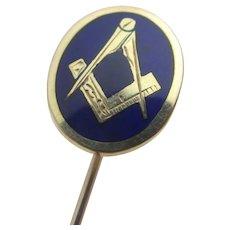 Masonic Enamel 9k Gold Stick Pin Brooch Vintage English.