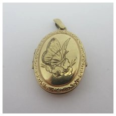 Butterfly Detail to this 9k Gold Double Pendant Locket Vintage English c1980