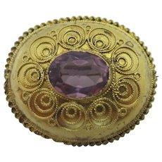 Etruscan 15k Gold Amethyst Paste Brooch Pin Antique Victorian c1860.