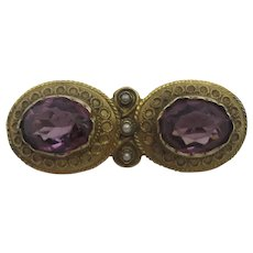 Etruscan 15k Gold Amethyst Paste Seed Pearl Brooch Pin Antique Victorian c1860.