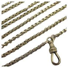 """Long Guard 9k Gold Chain Necklace 156cm / 61.4"""" Antique Victorian c1860."""