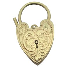 9k Gold Heart Padlock Findings Vintage English 1967 Georg Jensen.